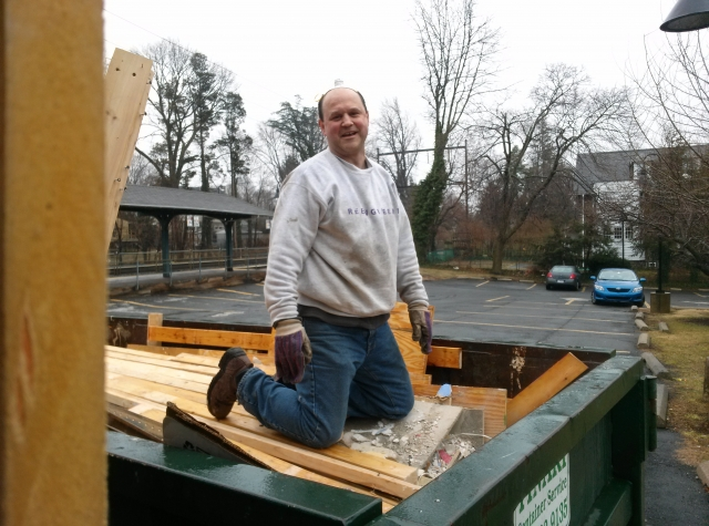 filling the dumpster!